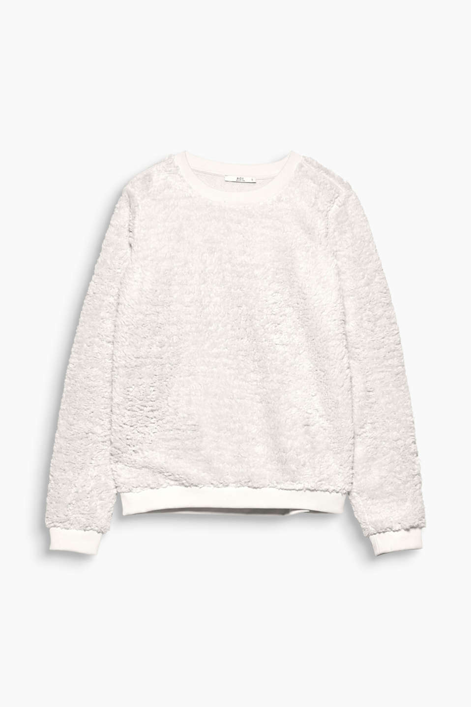 So cosy: this loose-fitting sweatshirt is sure to turn heads thanks to its soft, faux fur outer surface!