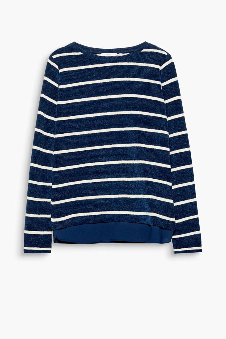 Get that cosy feeling: long sleeve top in soft chenille yarn with a layered look hem and a stripe pattern