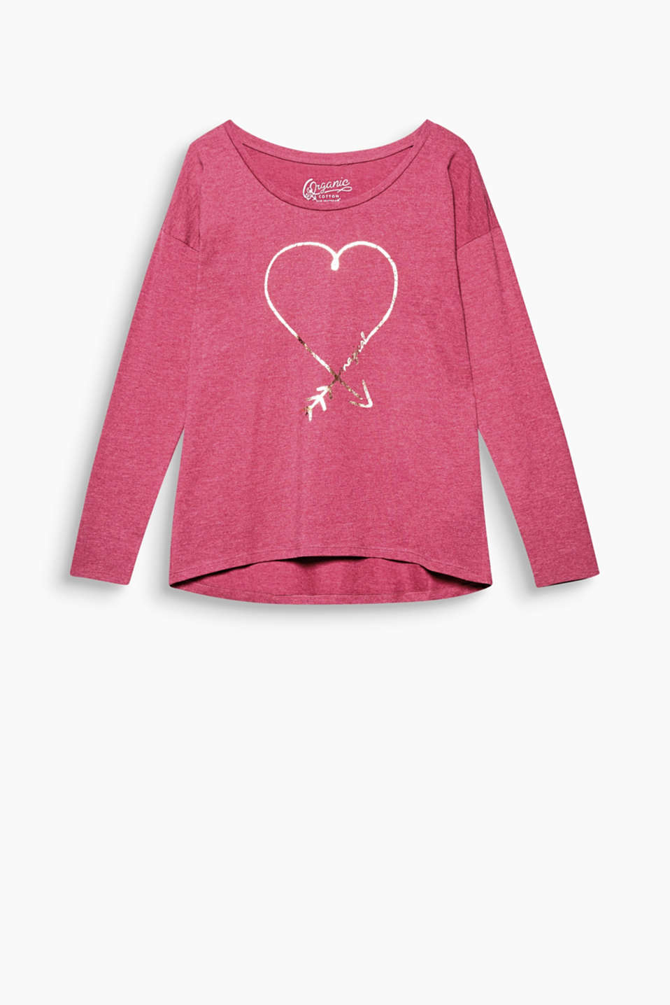 This long sleeve top in organic cotton are given a glamour kick by the glimmering print and sweet glitter elements!