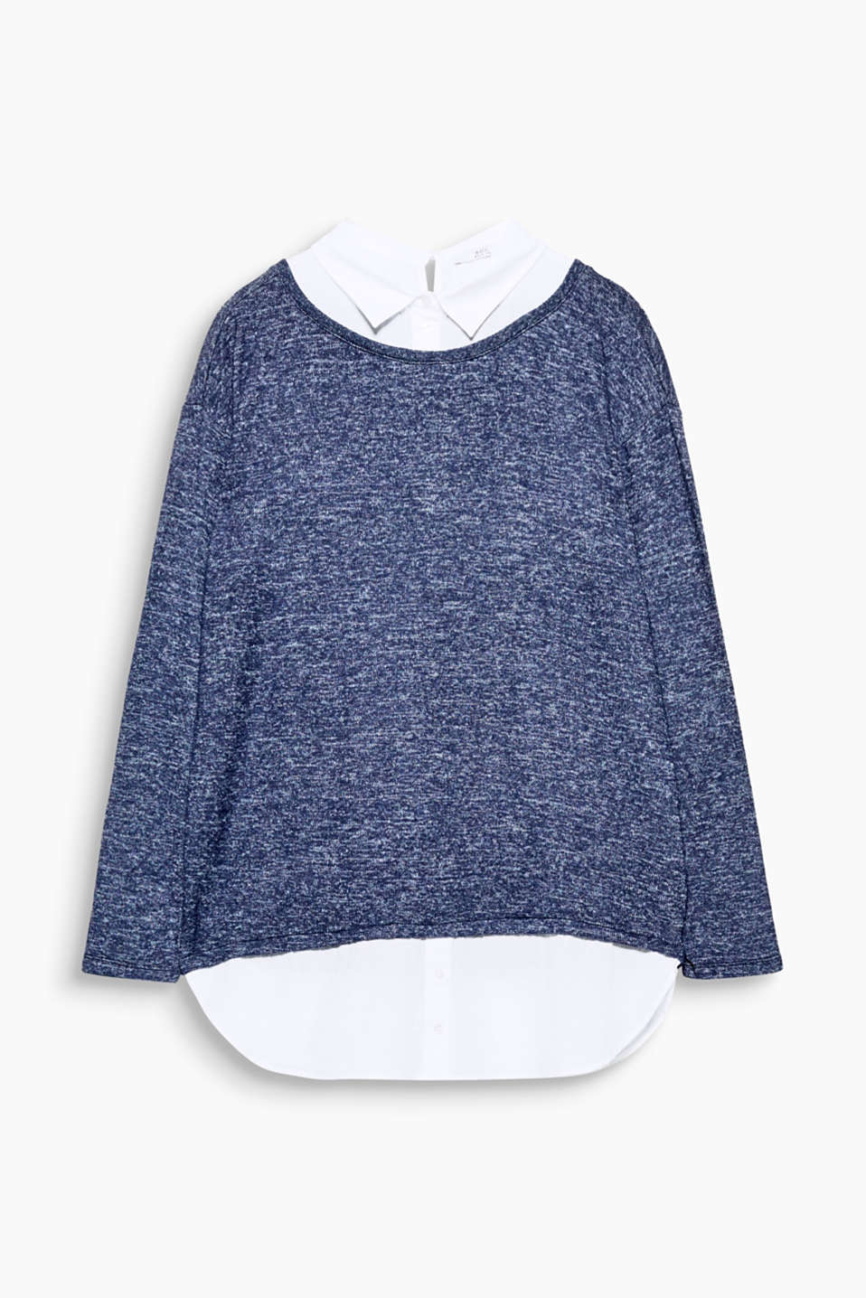 You are always well-dressed in this long sleeve top with a shirt collar and hem made of cloth.