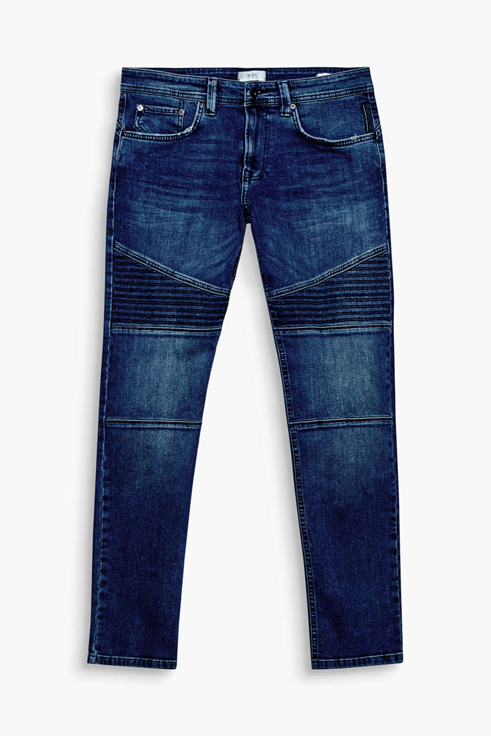 Cool biker details, decorative stitching and authentic garment-washed effects make these jeans an urban favourite.