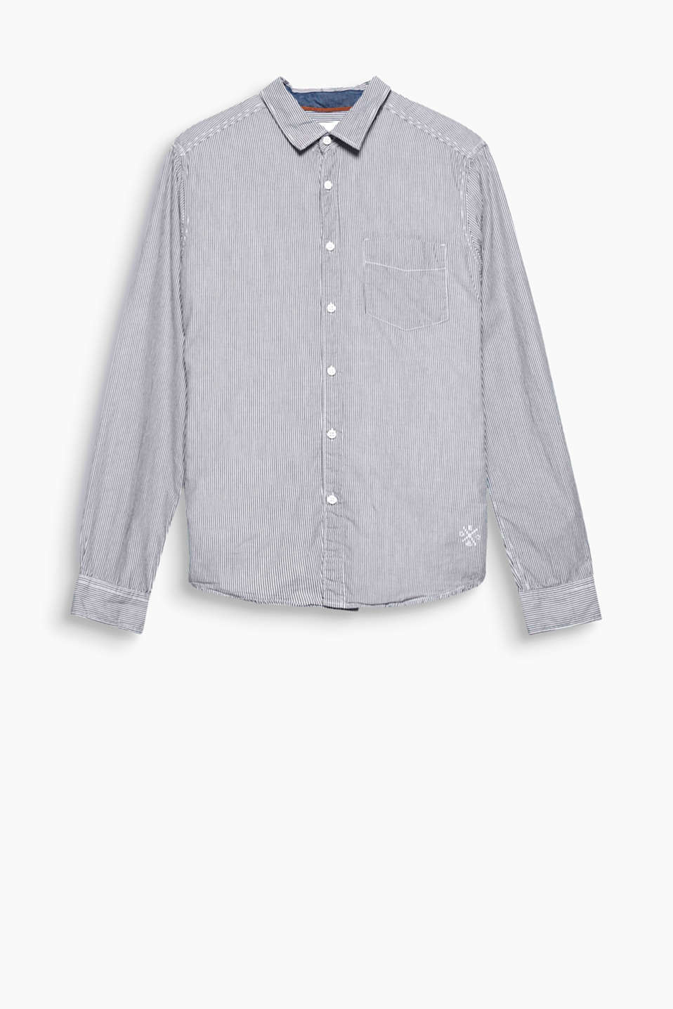 An everyday fave: Pure cotton shirt with fine stripes and a narrow collar
