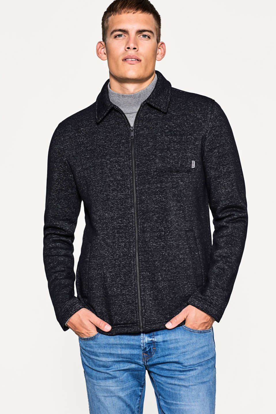 edc - Sweat-Cardigan mit Kragen