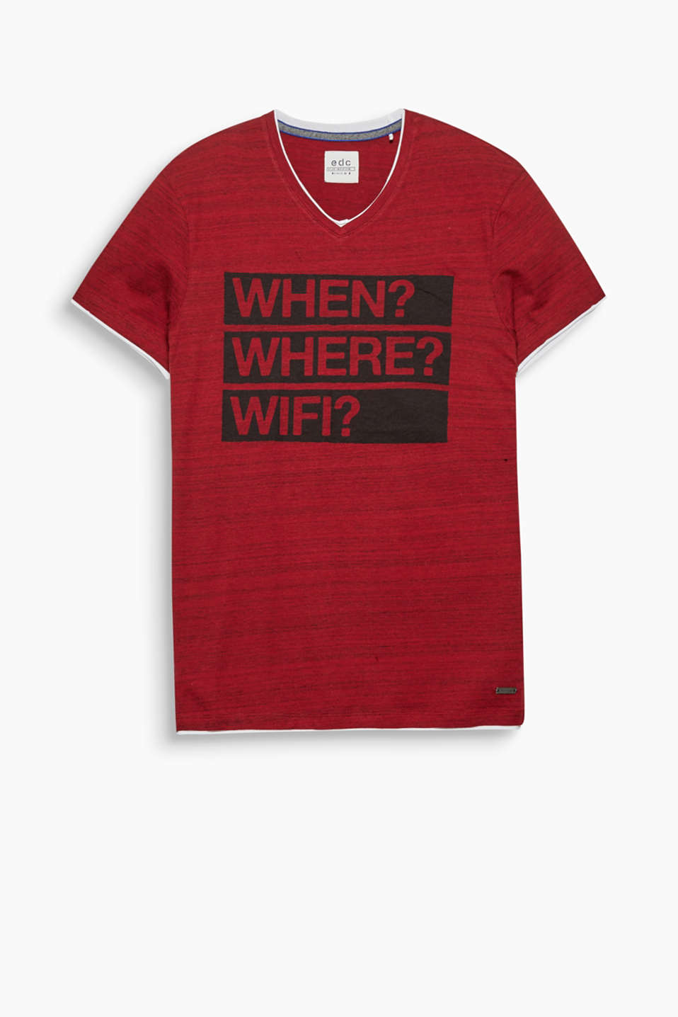 Up-to-date! There is always a time and place to hook up with this layered-effect, slogan T-shirt.