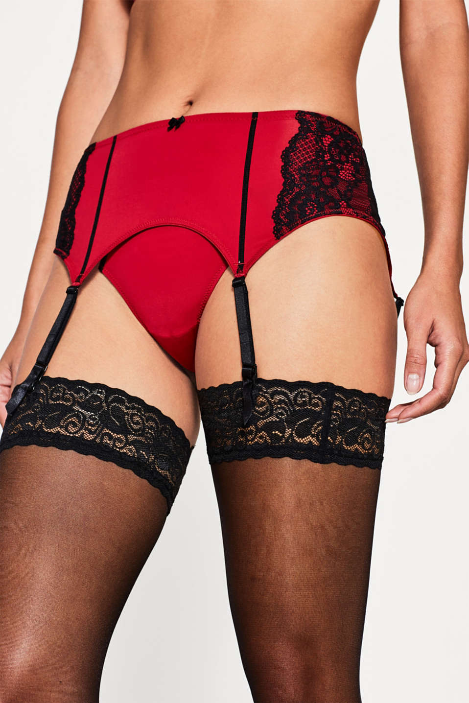 edc - Two-tone suspender belt with lace