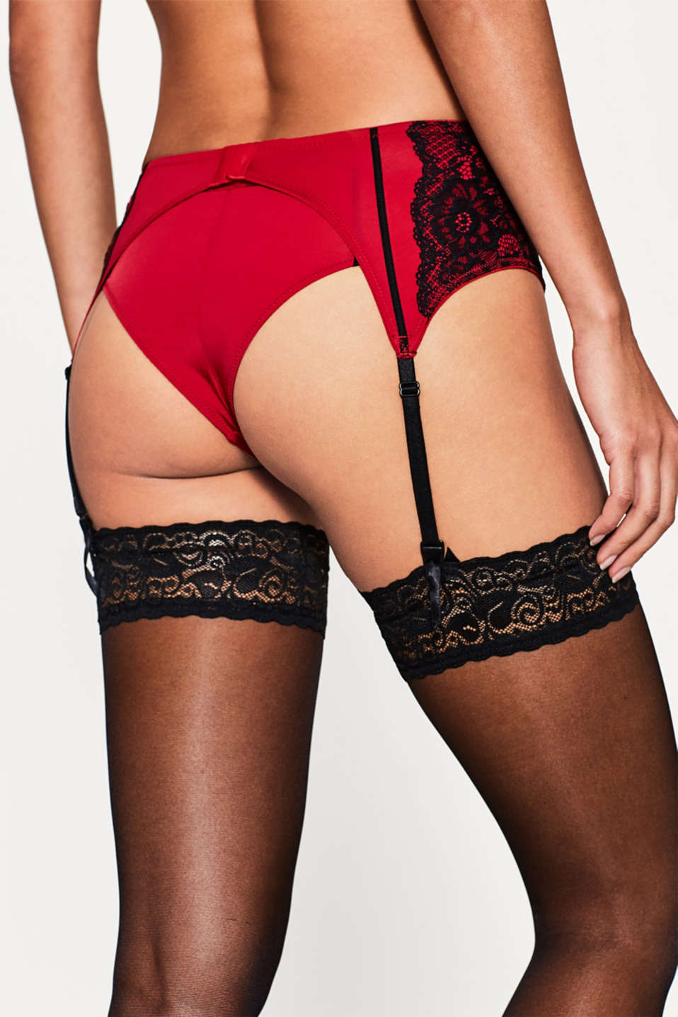 Two-tone suspender belt with lace