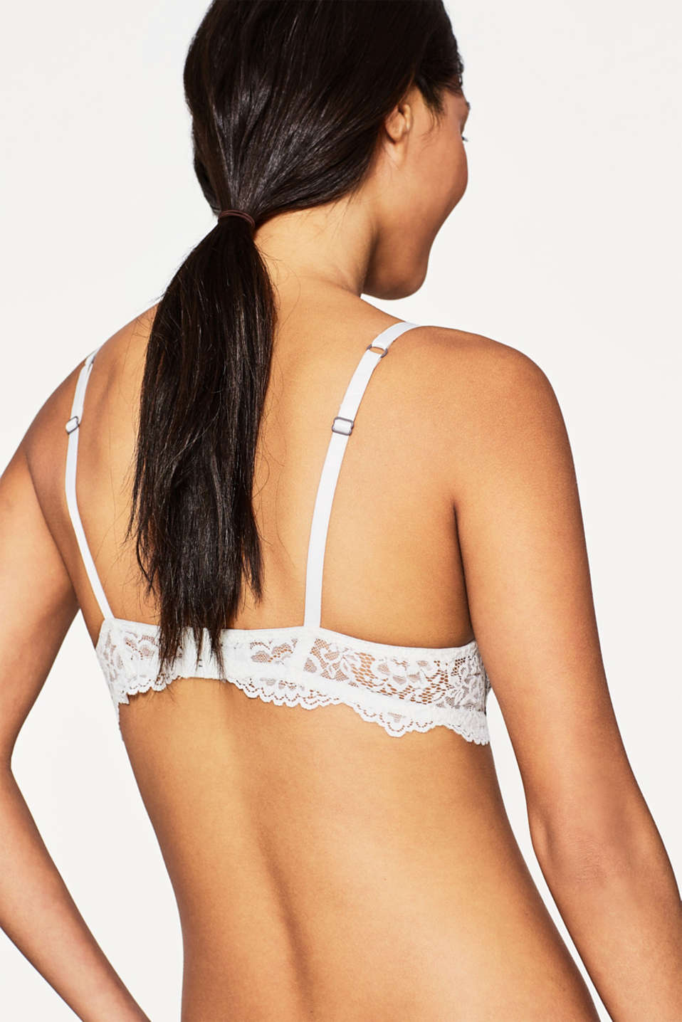 Push-up bra in bi-colour lace