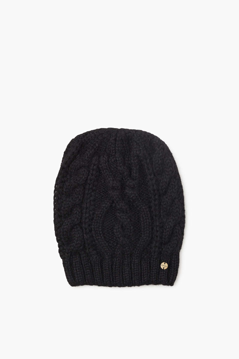 Esprit - Beanie with Merino wool and cable pattern