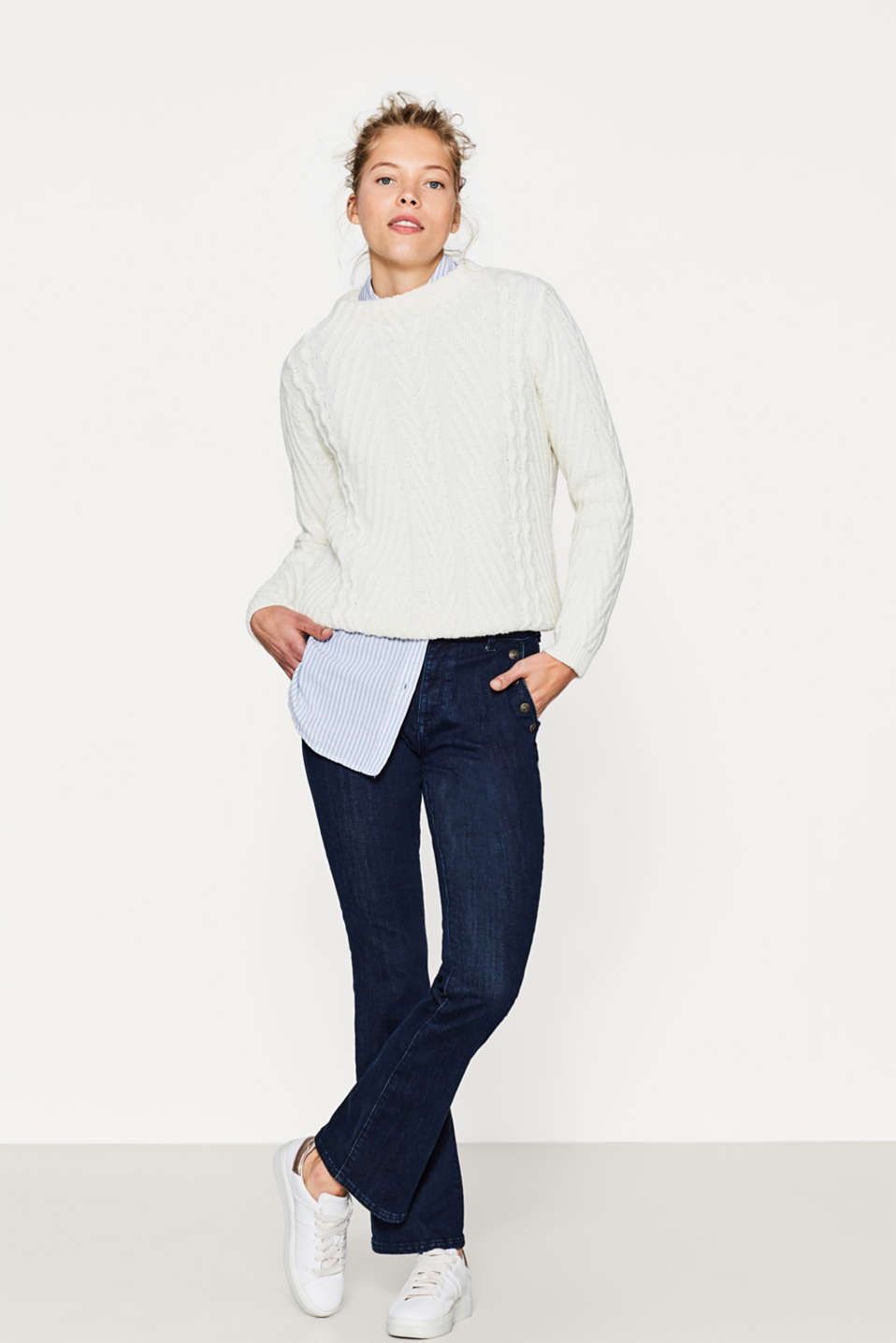 Esprit - Bootcut jeans with studs in a crested look