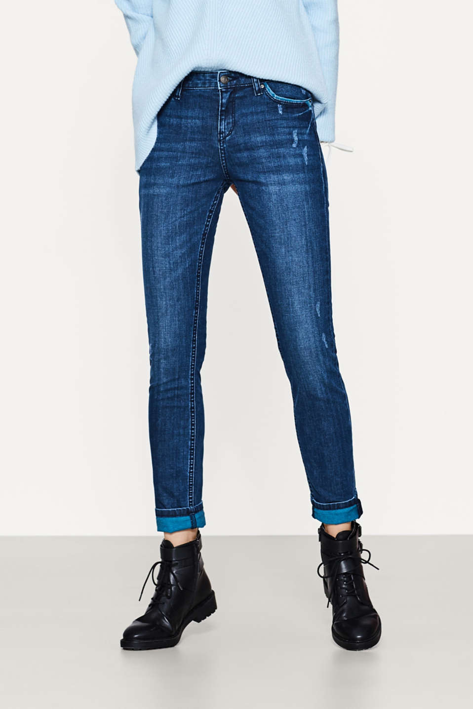 Esprit - Stretch jeans with coloured detailing