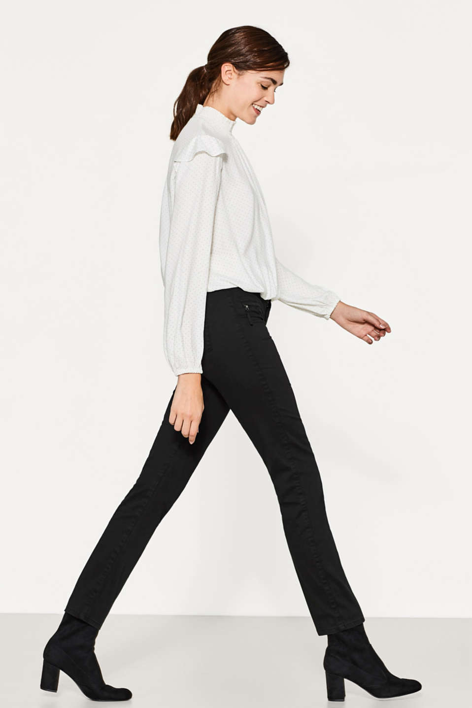 Esprit - Soft stretch trousers with a front zip