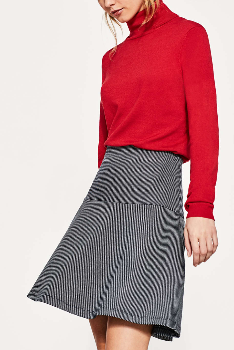 Esprit - Godet skirt with a fine striped texture