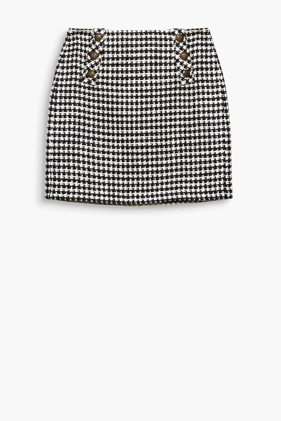 This mini skirt with a houndstooth pattern and crested buttons is defined by its innovative military flair!