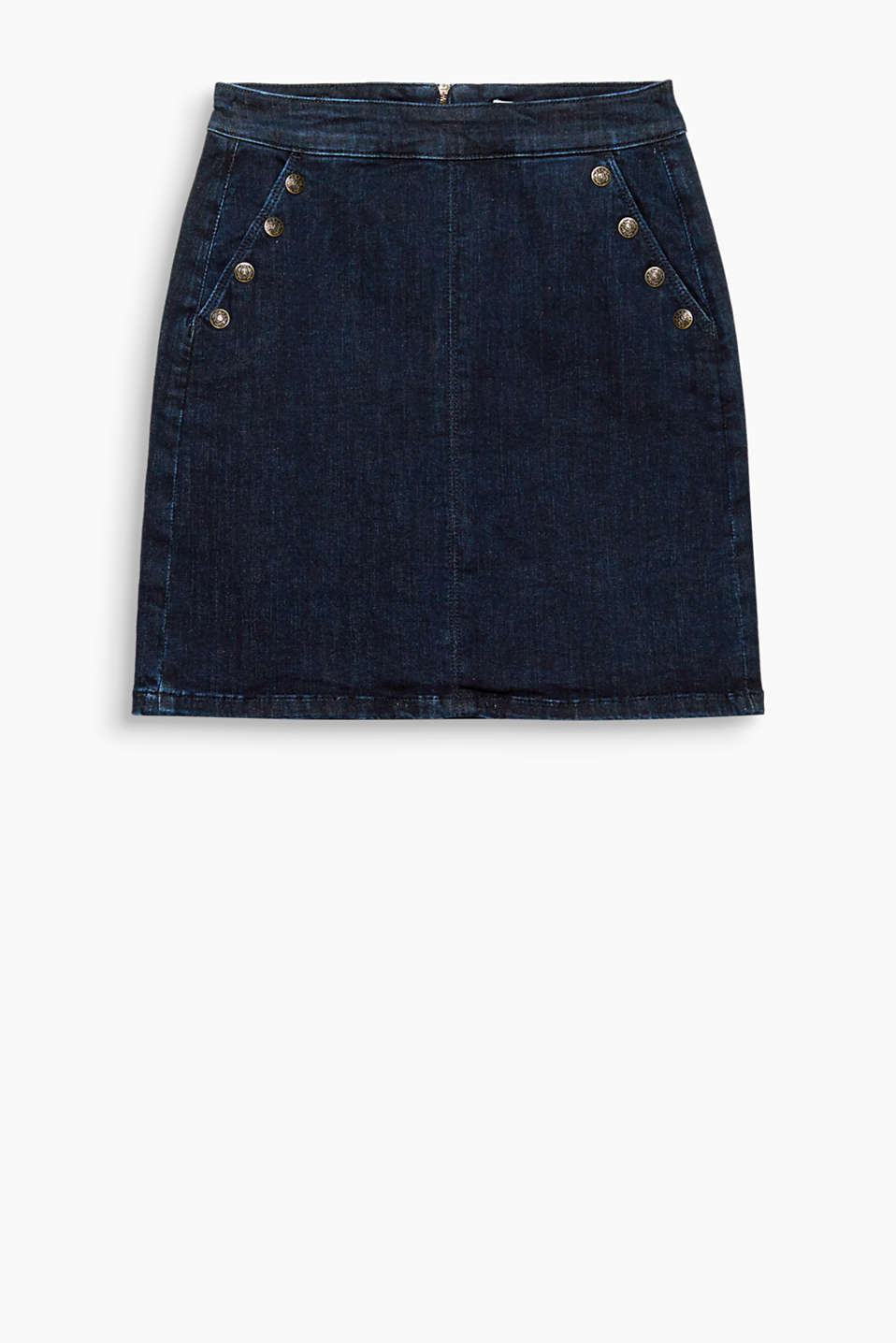 Denim goes military: The crested buttons transform this flared skirt in dark stretch denim into a real fashion piece.