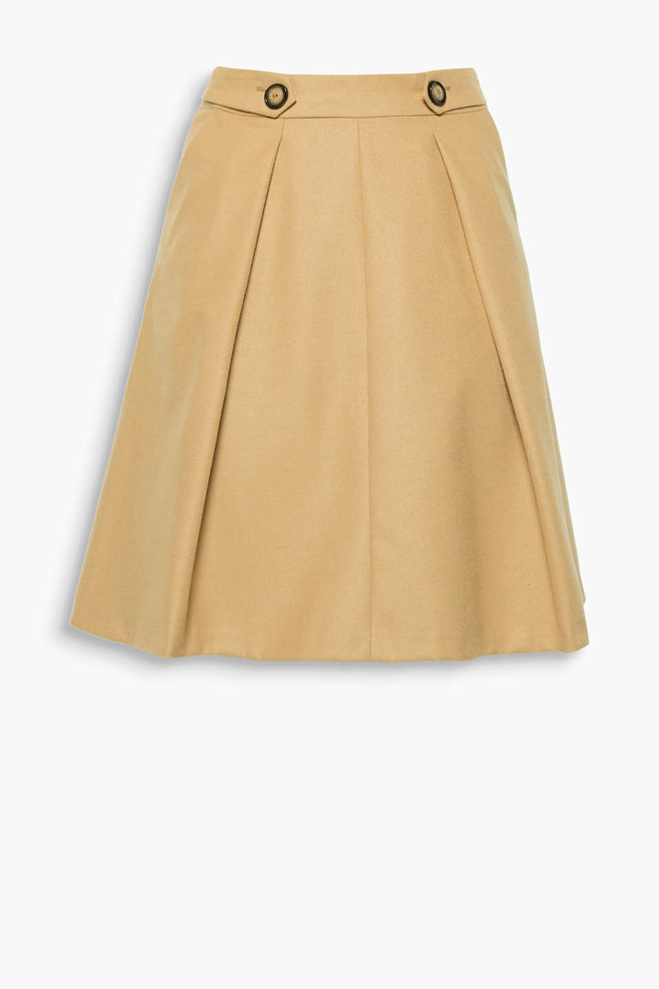 The inset pleats and waist straps + decorative buttons give this flared skirt its retro charm!