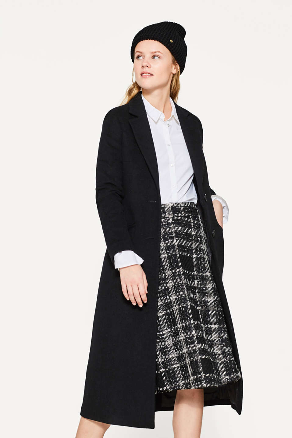A-line midi skirt with wool and alpaca