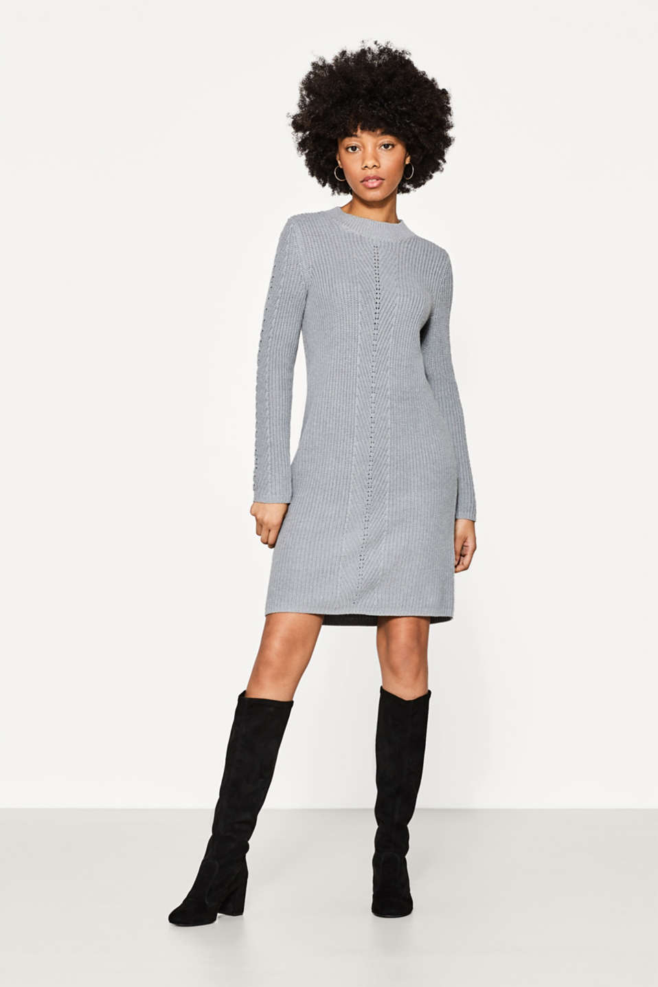 Esprit - Casual dress in a sporty ribbed knit