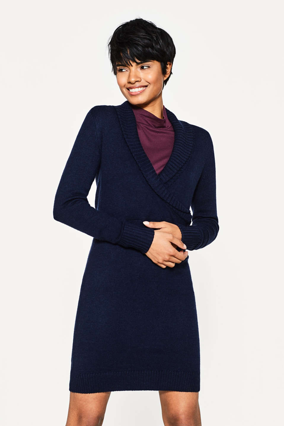 Esprit - Knitted wrap-over dress with shawl collar