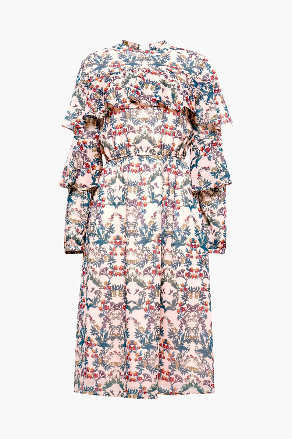A feminine lightweight feel elevates this midi-dress in a romantic look made of crinkle-chiffon with a floral print.