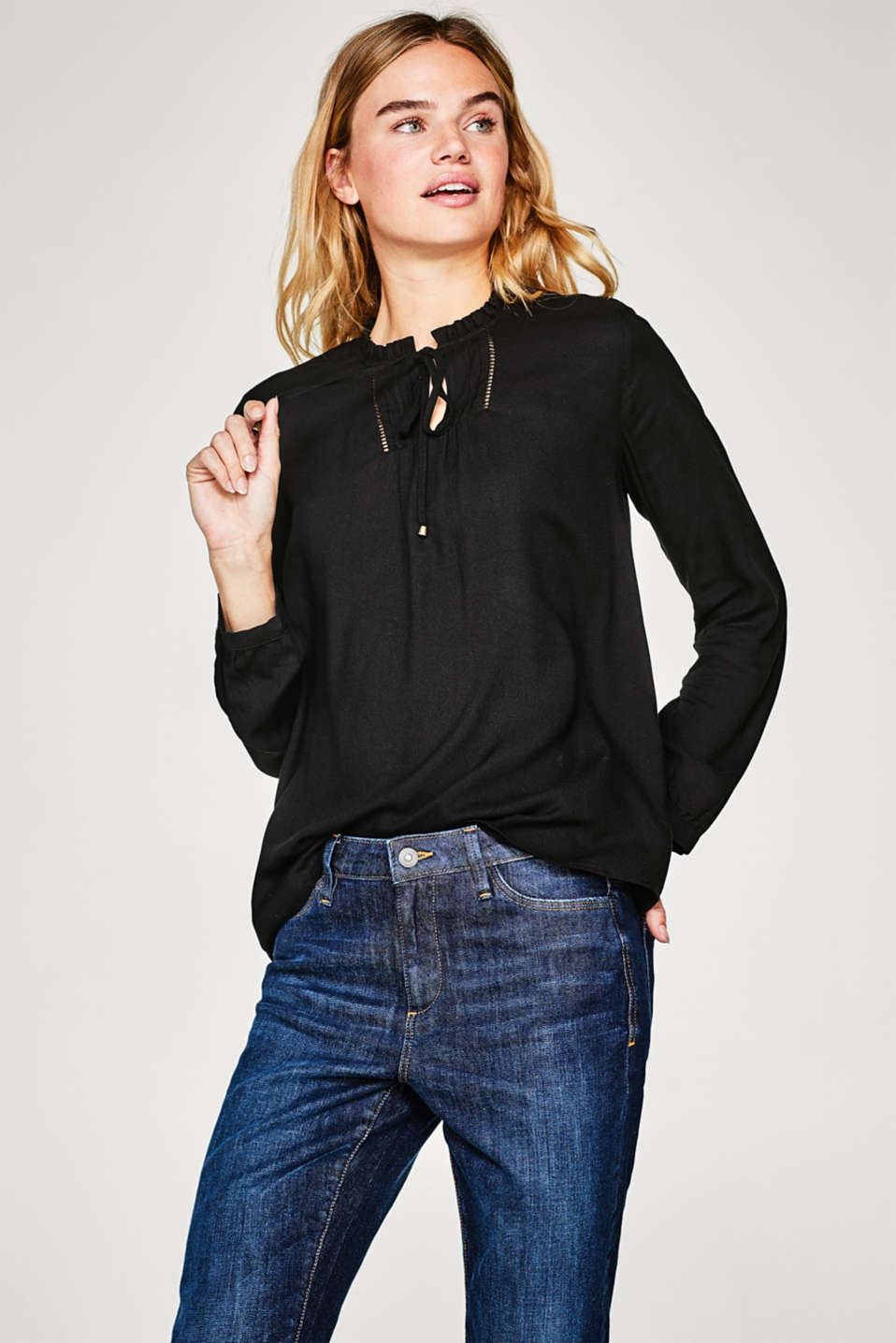 Esprit - Flowing tunic blouse with frills