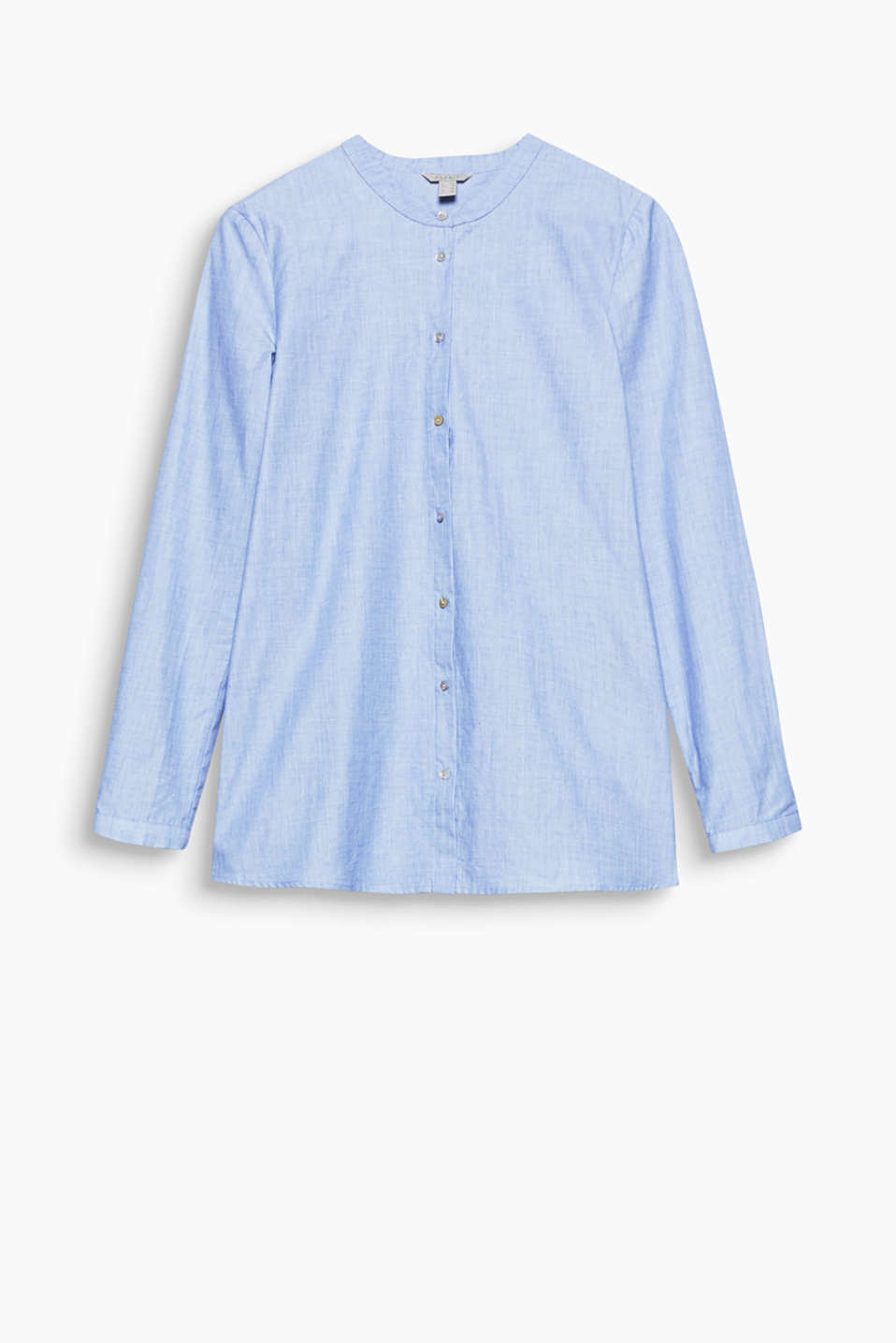 This pure cotton chambray shirt blouse with a stand-up collar can be worn with jeans or a business suit