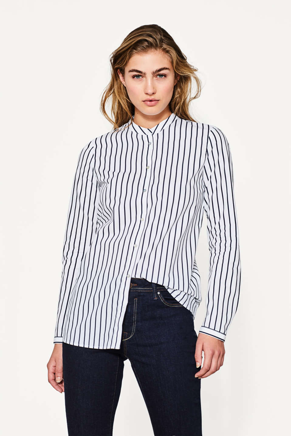 Blouse Designs Stand Collar : Esprit blouse with a stand up collar cotton at our
