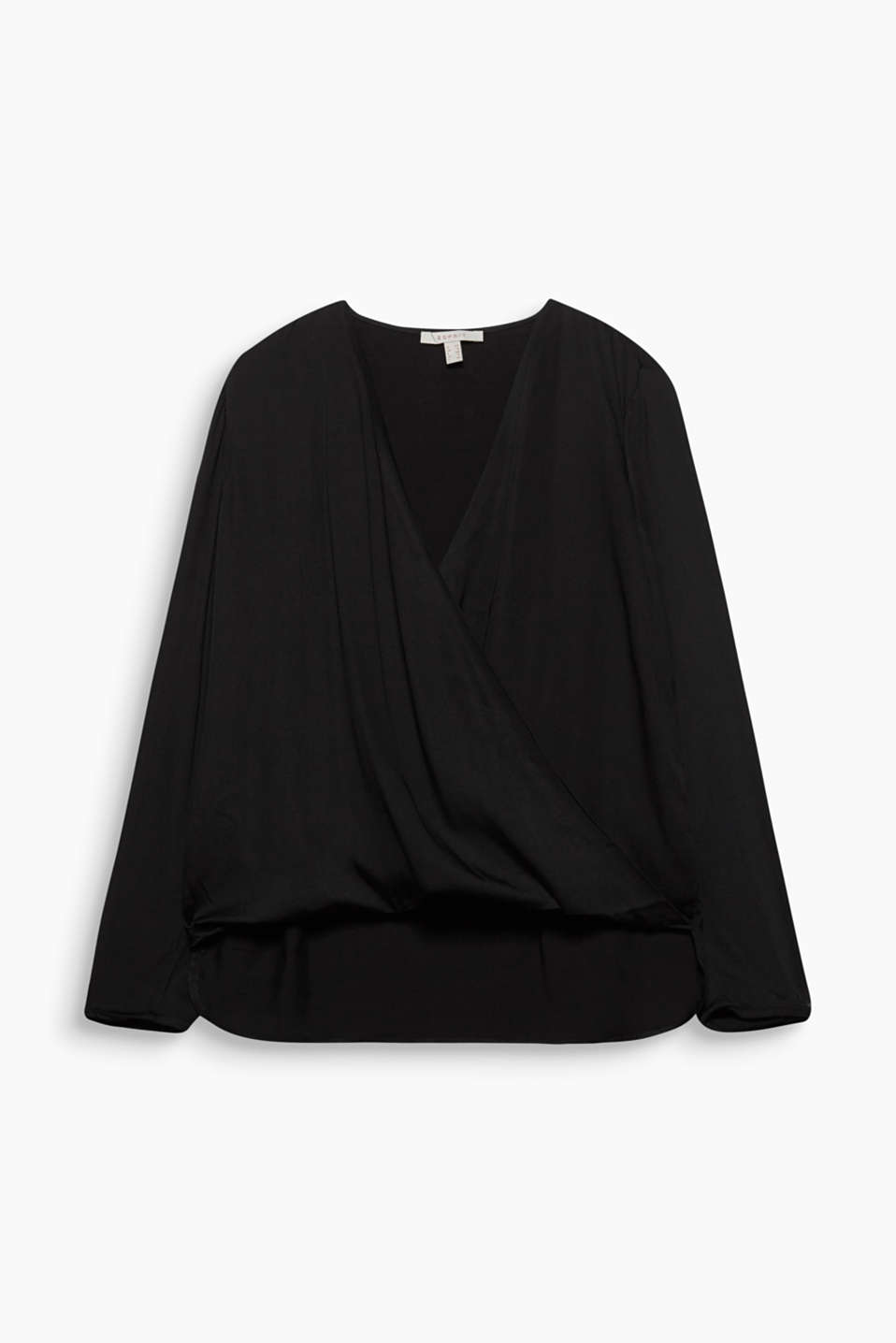 This silky blouse with a fixed wrap-over effect and high-low hem is both feminine and casual!