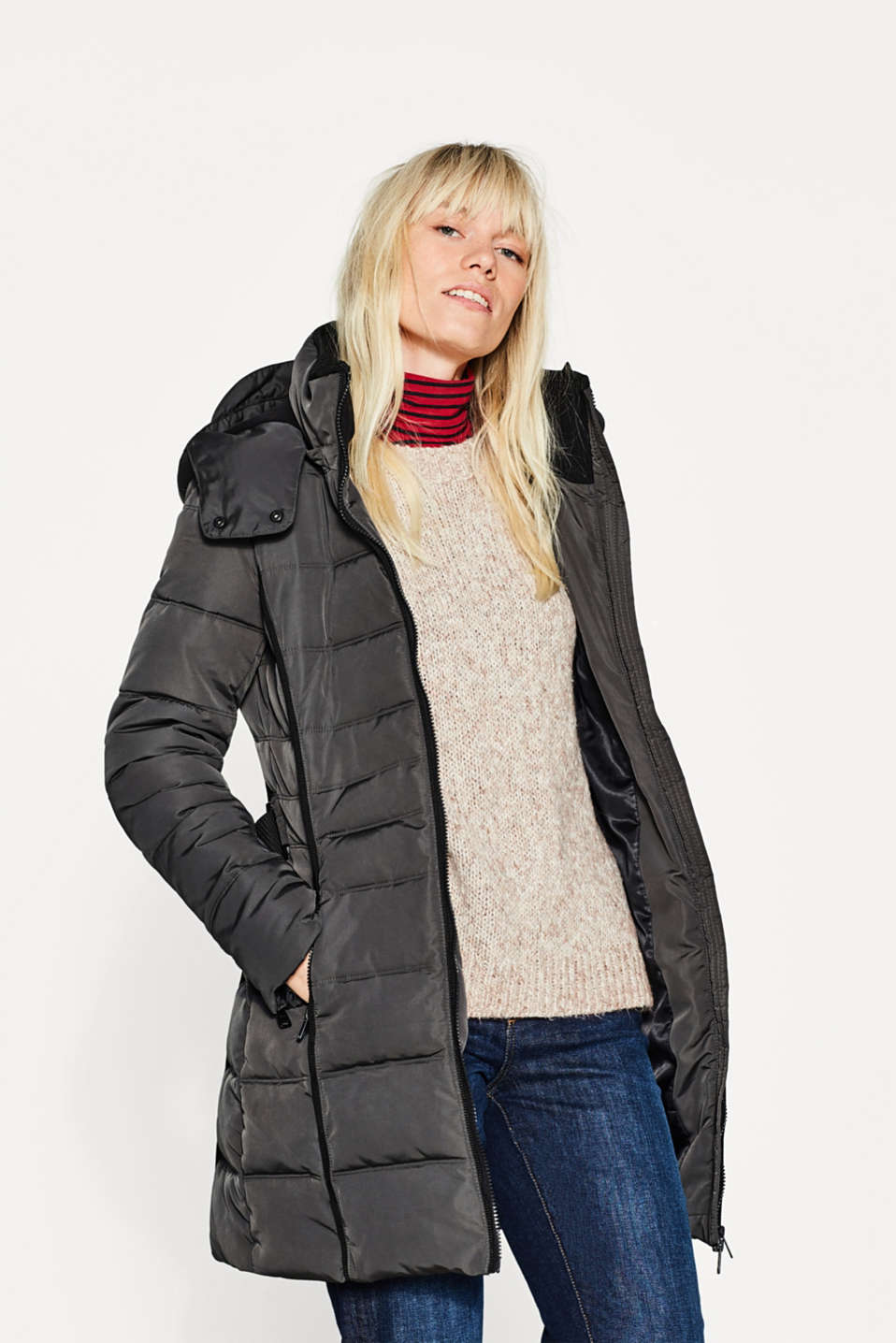 Esprit - Quilted coat with a hood and stretch belt