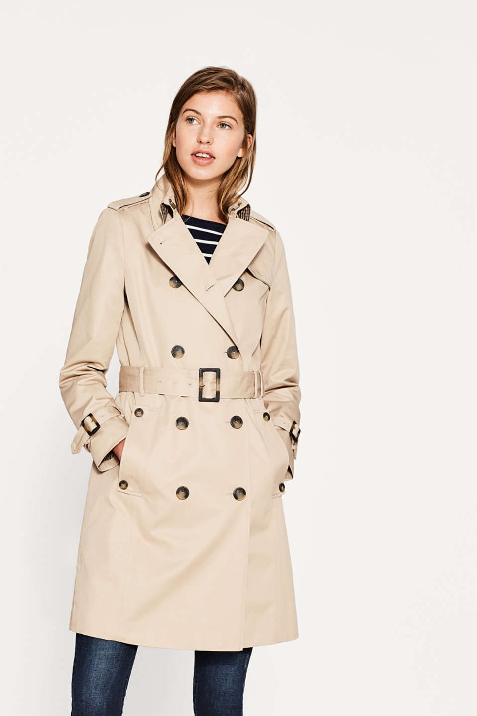 Esprit - Cotton trench coat with light quilted lining