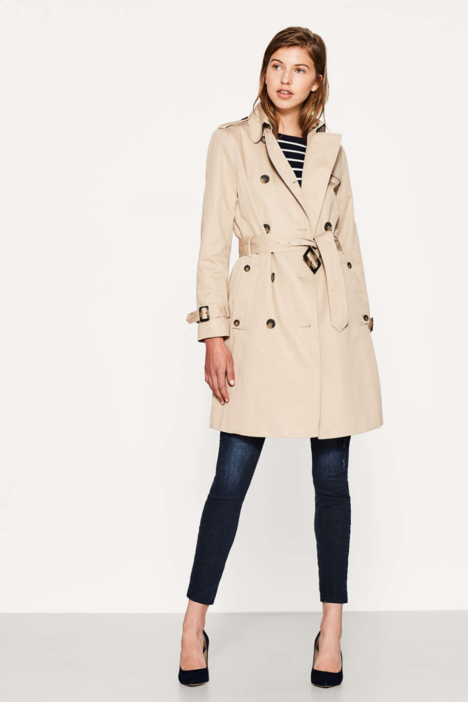 Cotton trench coat with light quilted lining