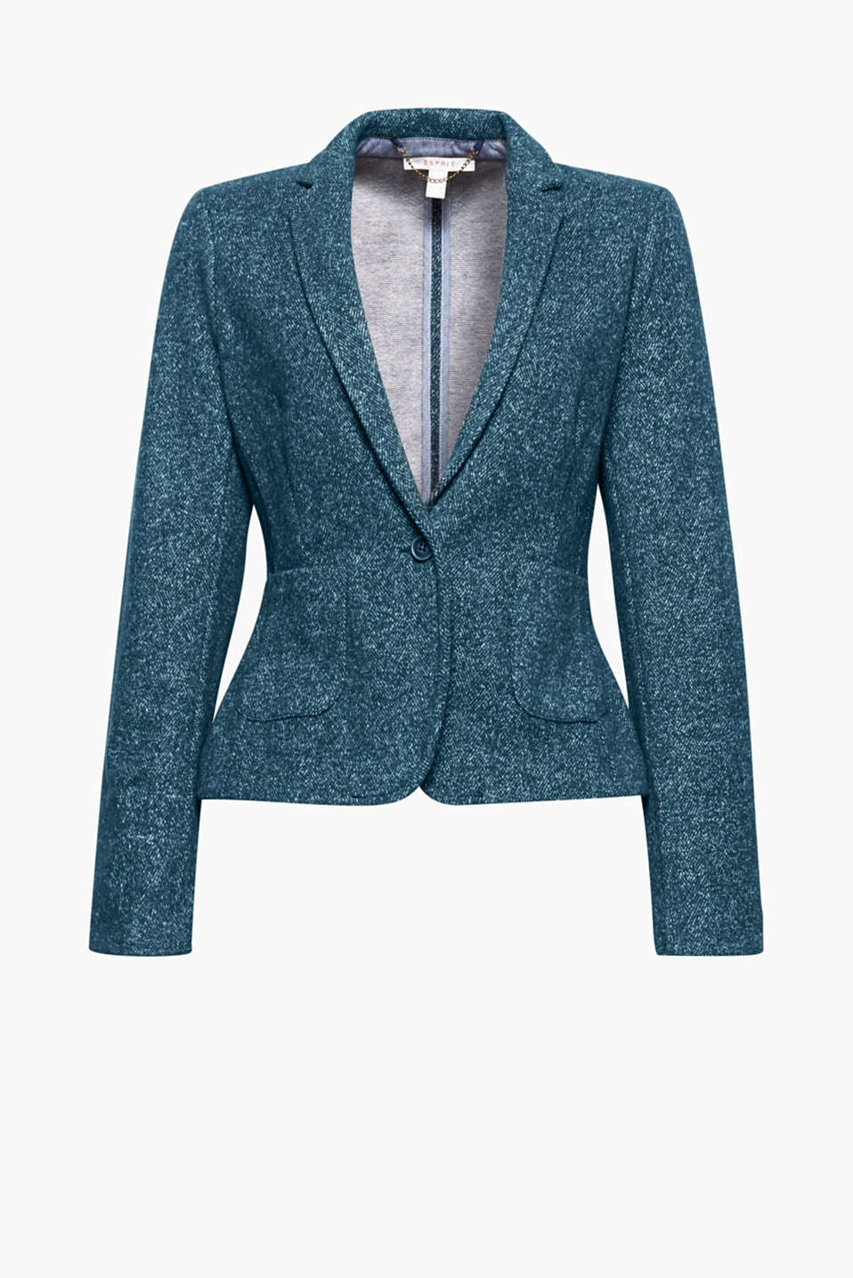 Work the smart casual approach: a fitted blazer design in a fine herringbone pattern will give you a stylish yet comfortable look!