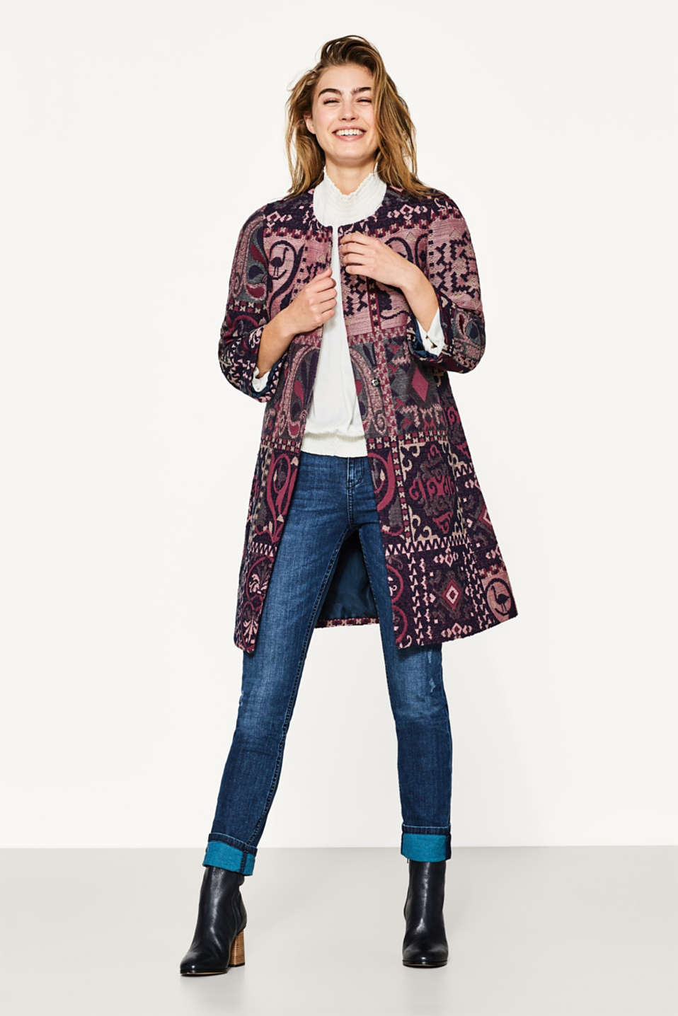 Jacquard coat with a belt, blended cotton