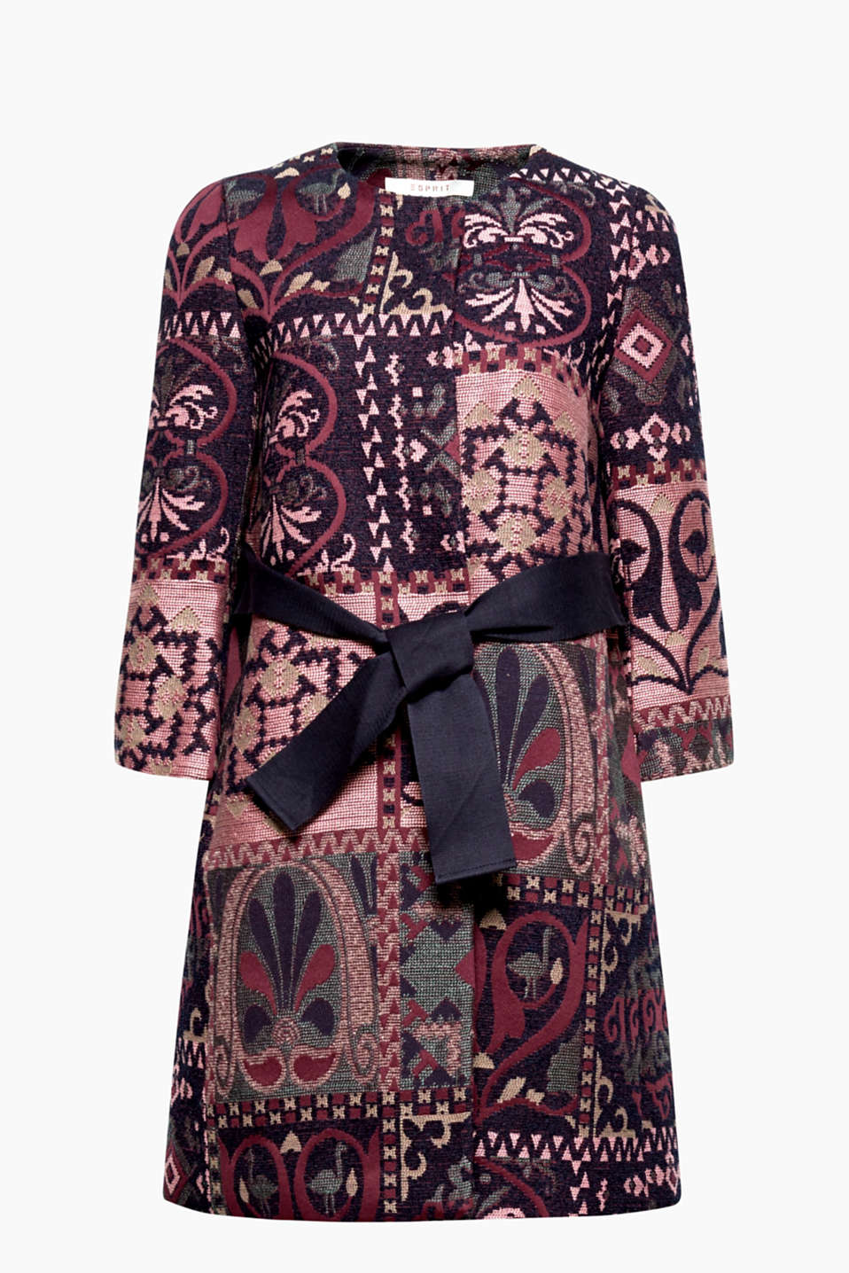 A true gem: this coat with an opulent jacquard pattern and wide tie-around belt will be a highlight of your wardrobe!