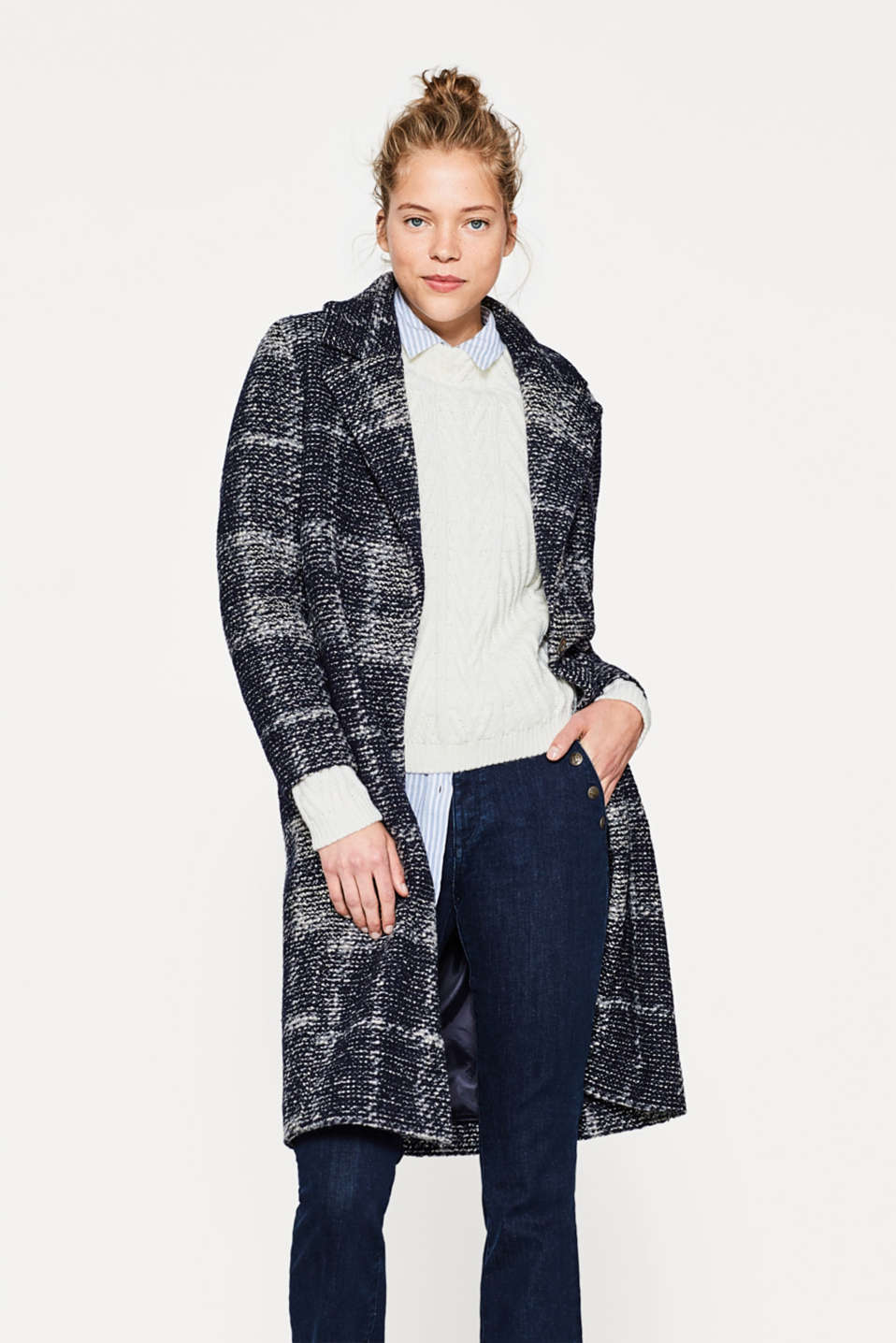 Esprit - Lightweight bouclé coat with new wool