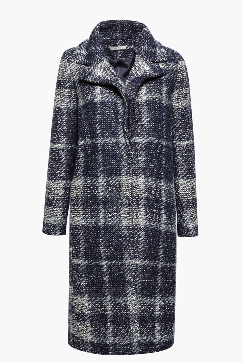 This long bouclé coat with a fashionable check pattern is perfect for between the seasons or as an indoor winter piece!