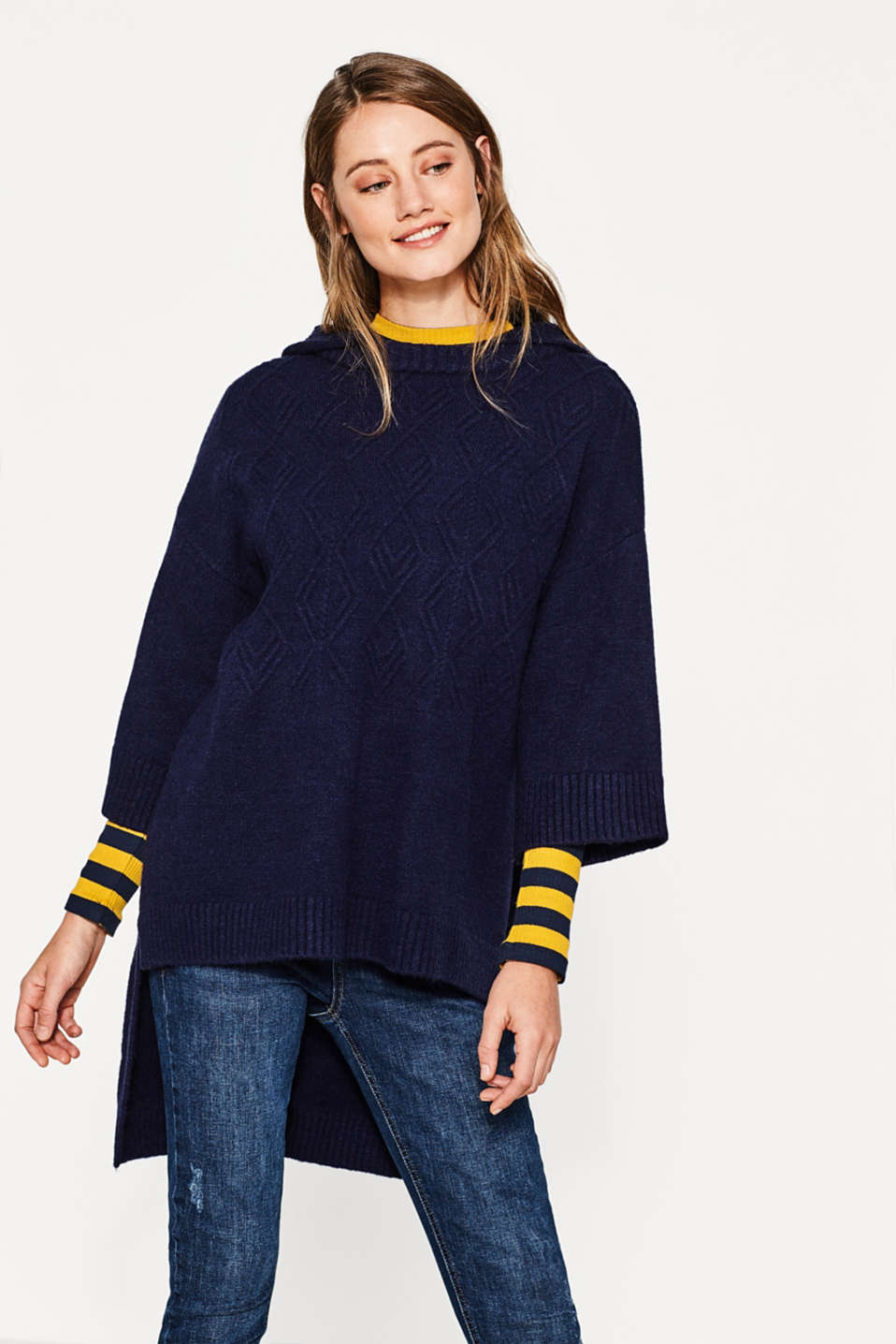 Esprit - Hooded cape jumper with a cable pattern