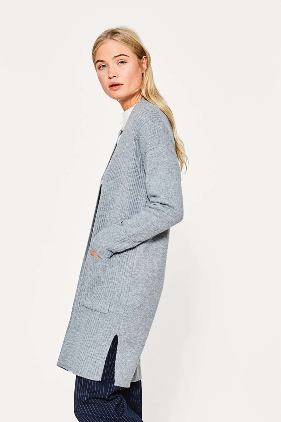Esprit - Open ribbed cardigan in blended wool