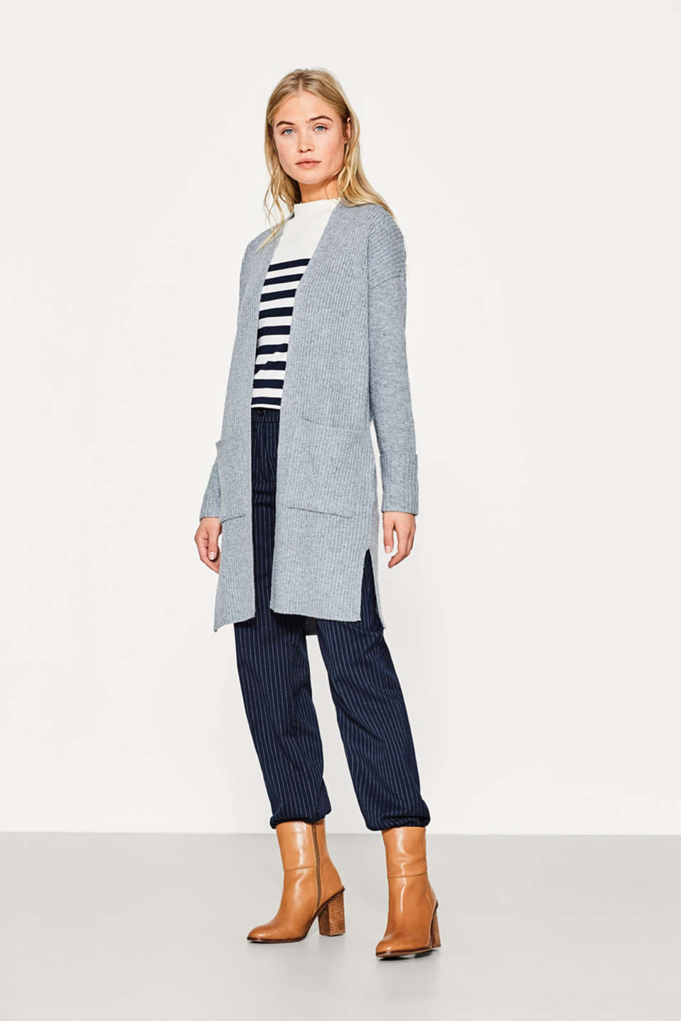 Open ribbed cardigan in blended wool