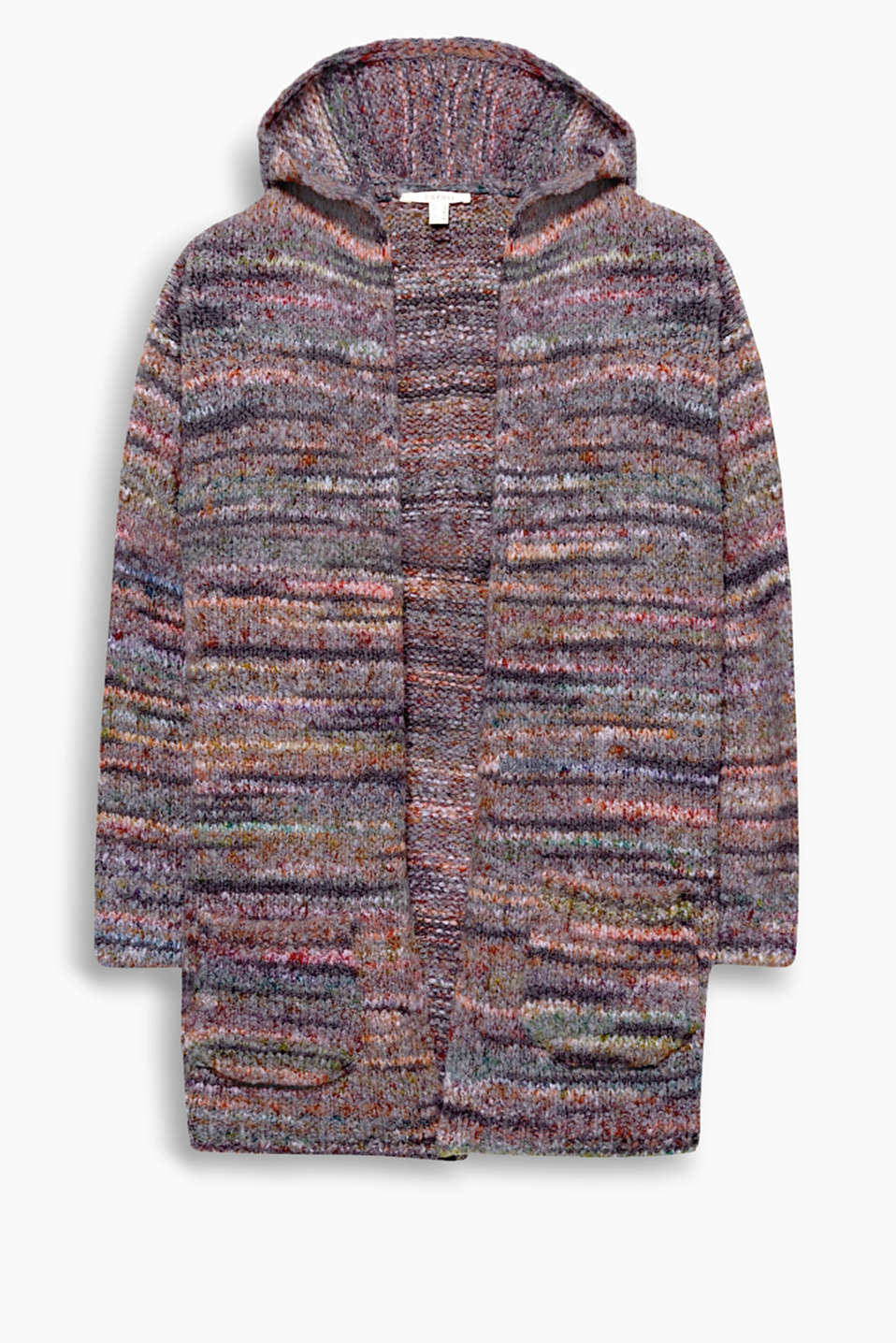 With a brightly coloured mottled effect with an open design + hood, this open cardigan in a wool blend is a cosy piece!
