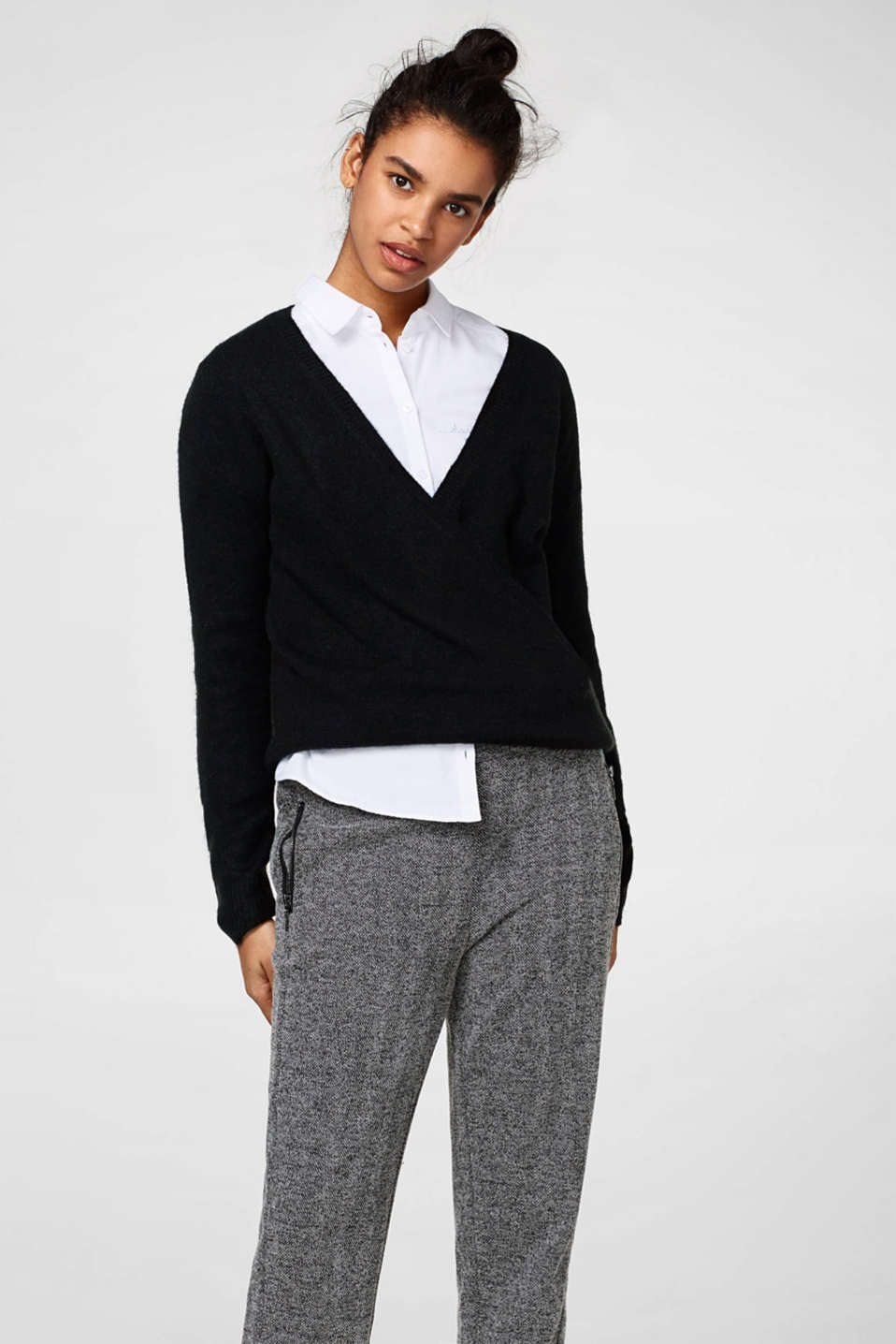Esprit - Oversized-Pullover in Wickel-Optik