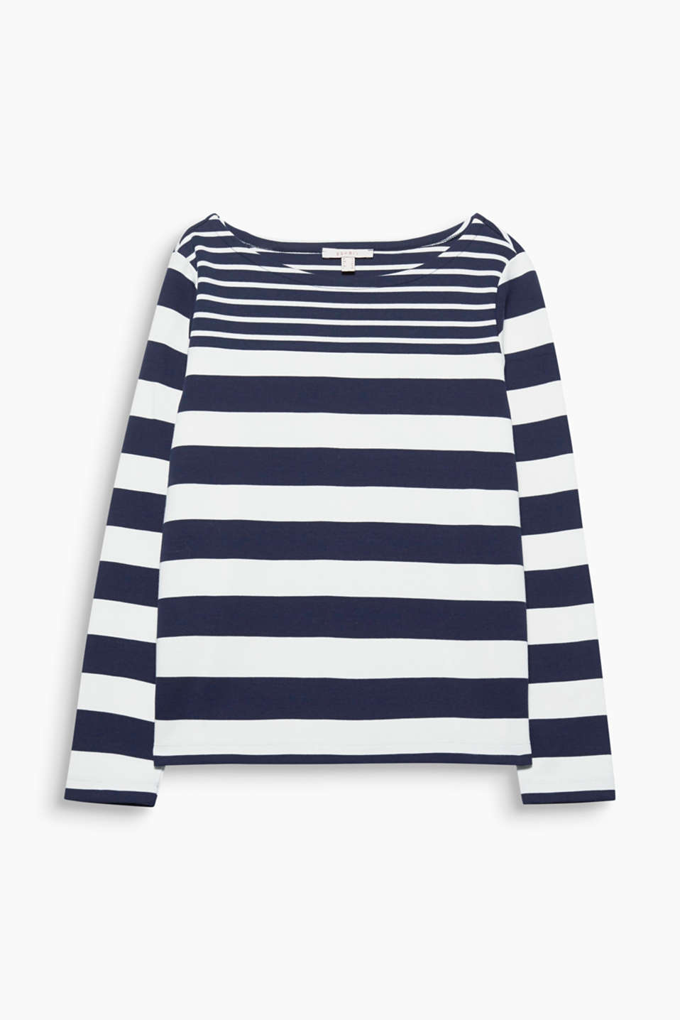 This straight cut, lightweight cotton sweatshirt is given a fresh look by its sporty striped mix!