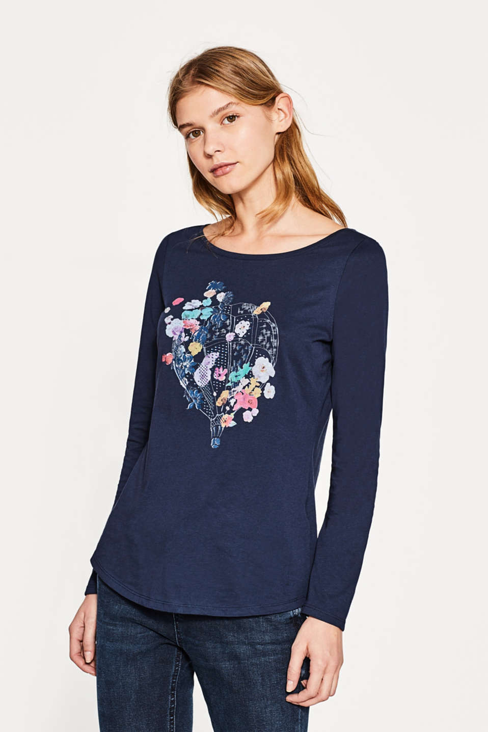 Esprit - Long sleeve printed top, 100% cotton
