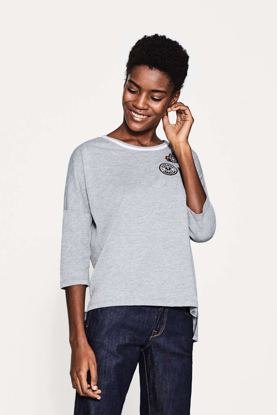 Esprit - Melange oversized T-shirt with patches