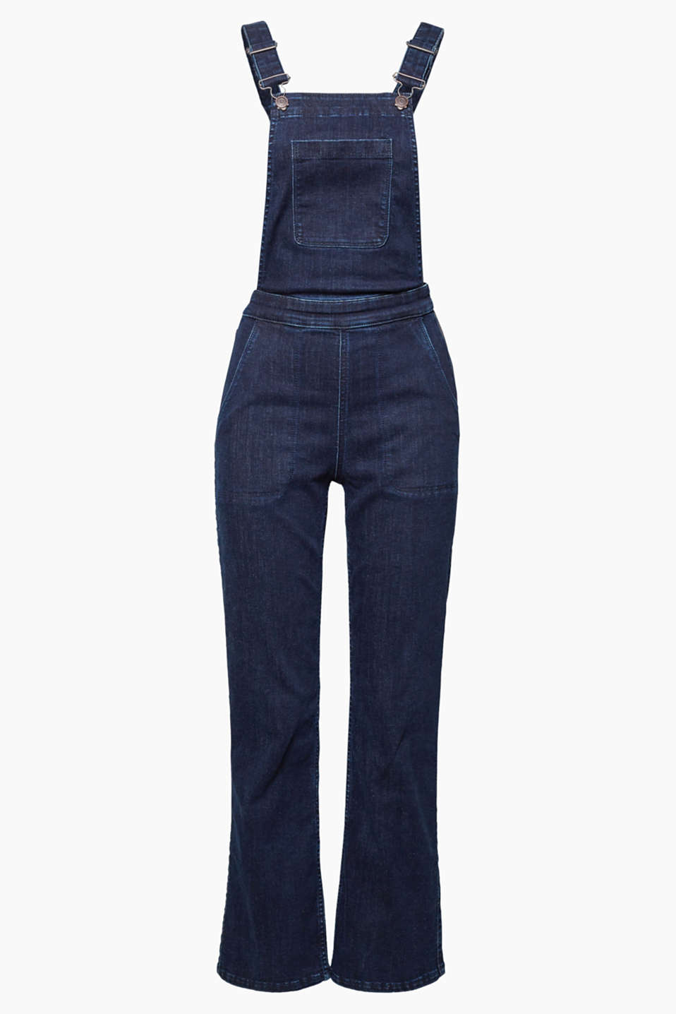 Smart and feminine all at once: denim dungarees with super stretch