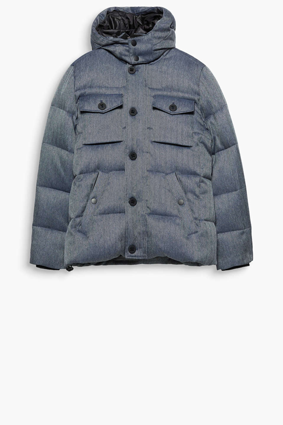 A modern outerwear style: winter jacket with a herringbone pattern and RDS-certified down-feather filling.