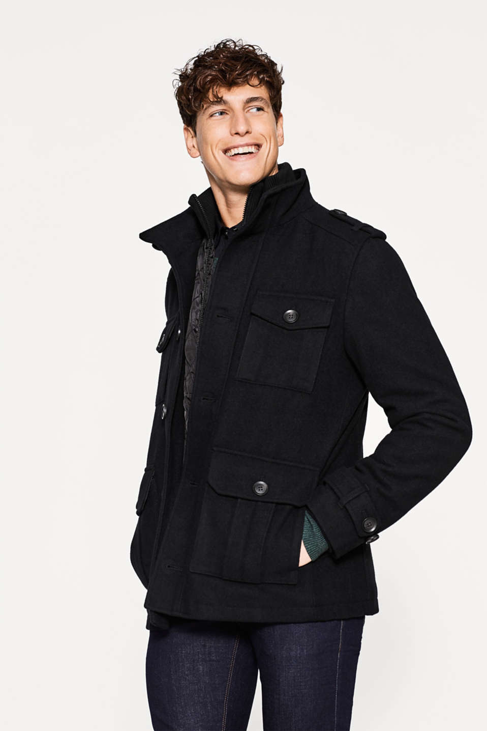 Esprit - Military jacket in a warm wool blend