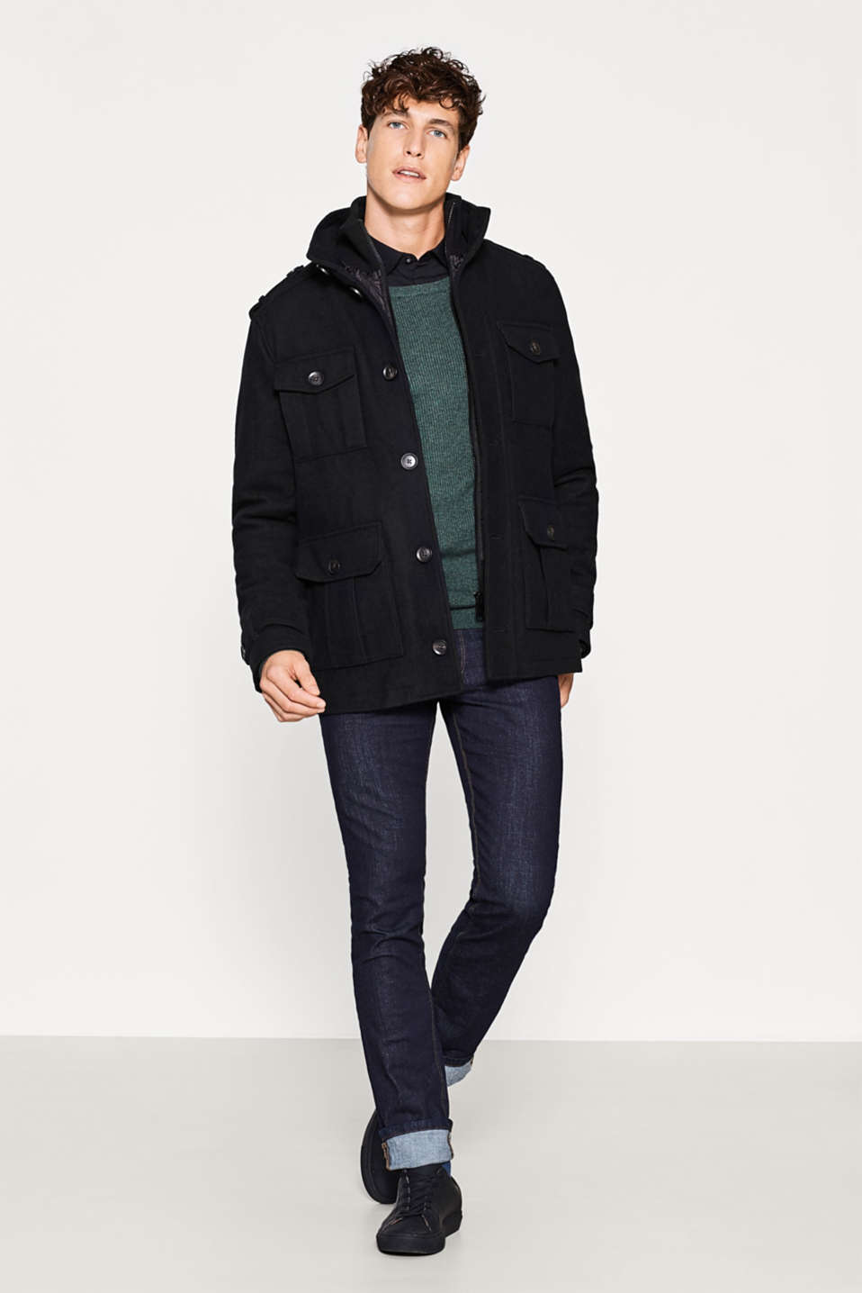 Military jacket in a warm wool blend