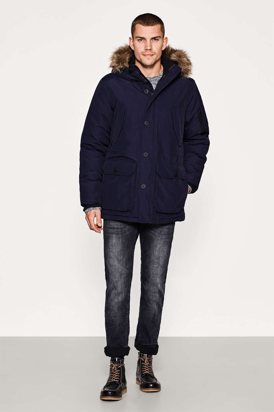 Waterproof parka with a faux-fur trim