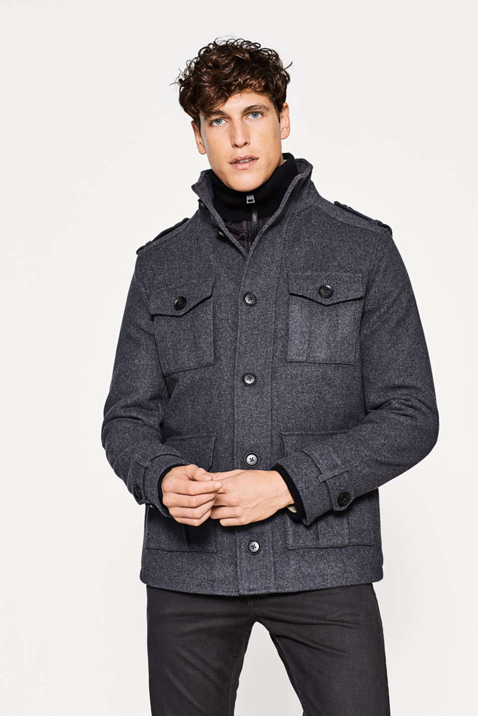 Esprit - Sporty field jacket in a wool blend