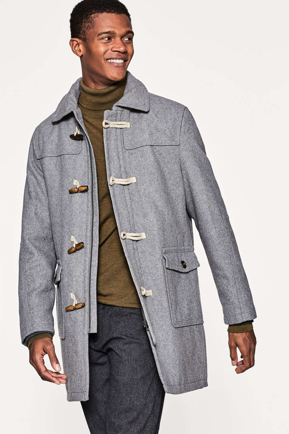 Esprit - High-quality blended wool duffel coat